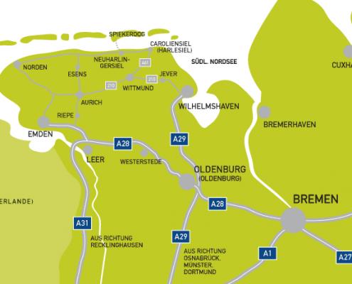 Übersichtskarte Anreise Spiekeroog
